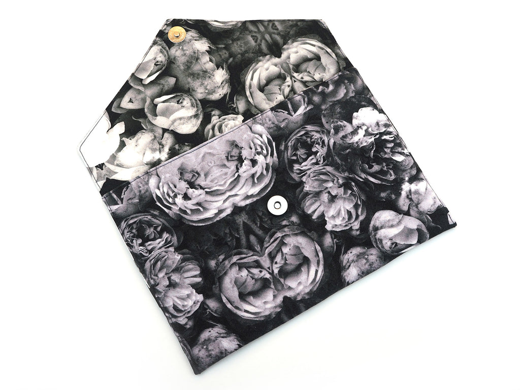 Handmade envelope clutch in grey rose print fabric