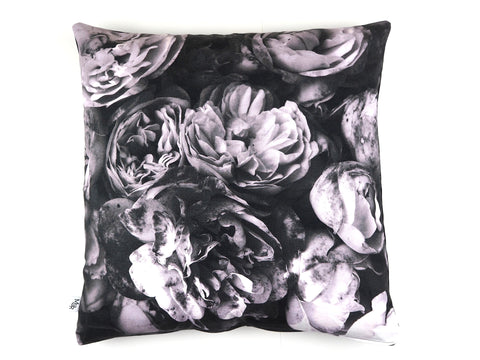 Max & Rosie handmade cushion in monochrome rose print fabric
