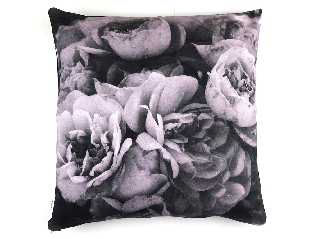 Max & Rosie handmade cushion in large grey rose print fabric