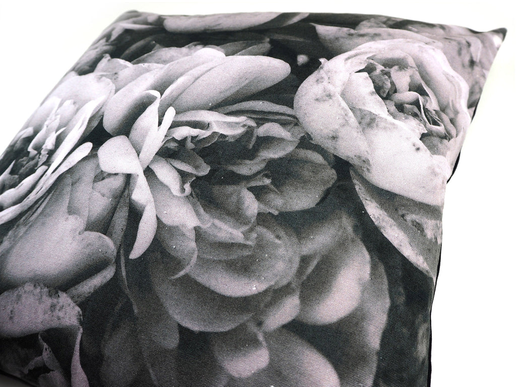 Max & Rosie handmade cushion in large grey rose print fabric detail