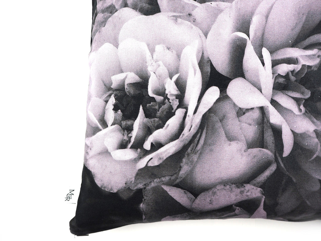 Max & Rosie handmade cushion in large grey rose print fabric close up