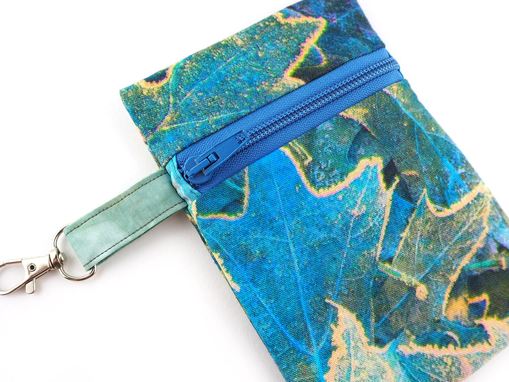 Leaf print handmade coin purse