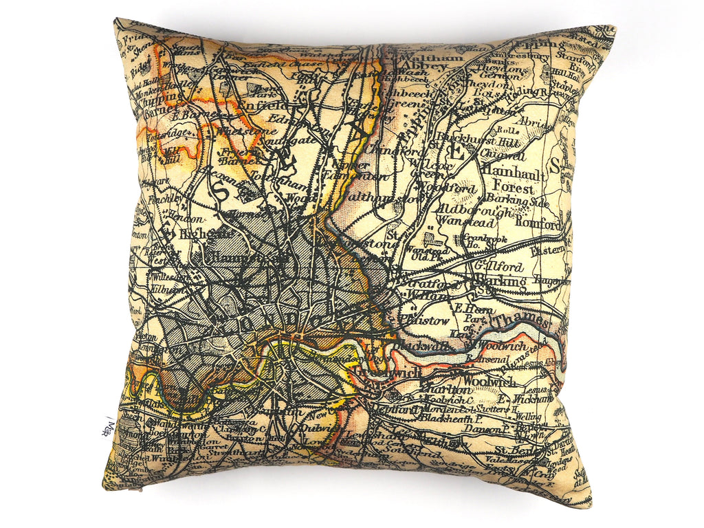 London map print cushion front