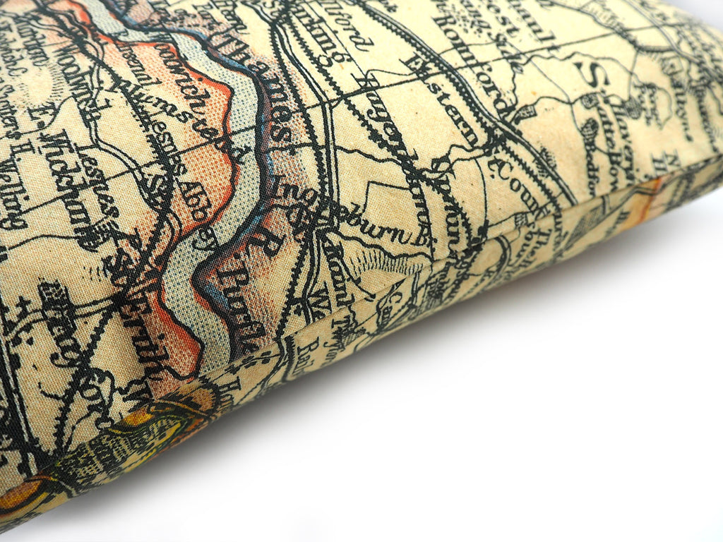 London map print cushion detail