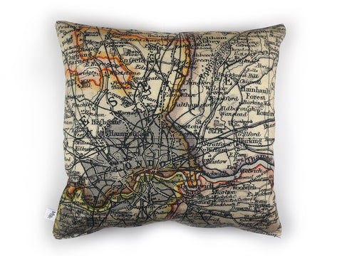 Max & Rosie Handmade cushion in London map print fabric