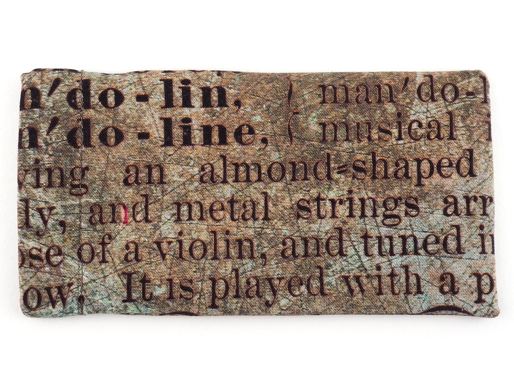 Handmade glasses case in antique text print fabric back