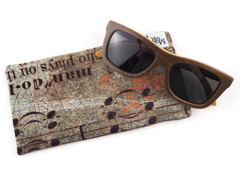 Handmade glasses case in antique text print fabric