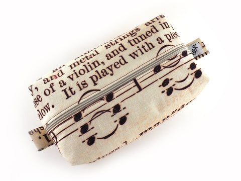 Handmade antique text print wash bag