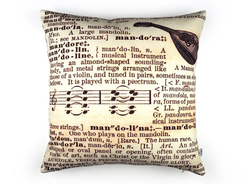 Handmade dictionary print cushion