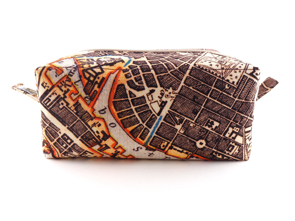 Handmade travel bag in antique map print fabric