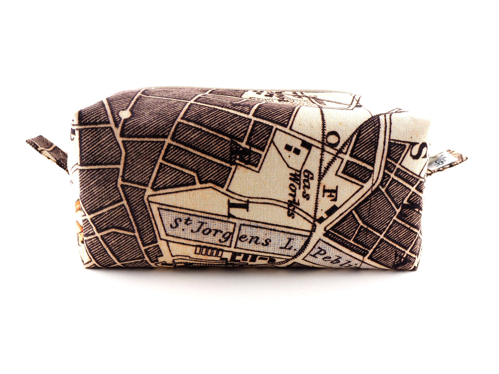Handmade wash bag in map print fabric