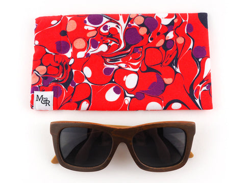 Red handmade marble print sunglasses case