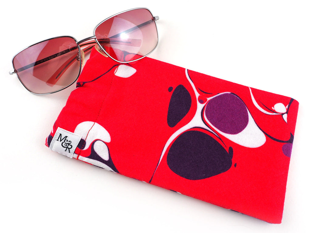 Pink marble print handmade glasses case