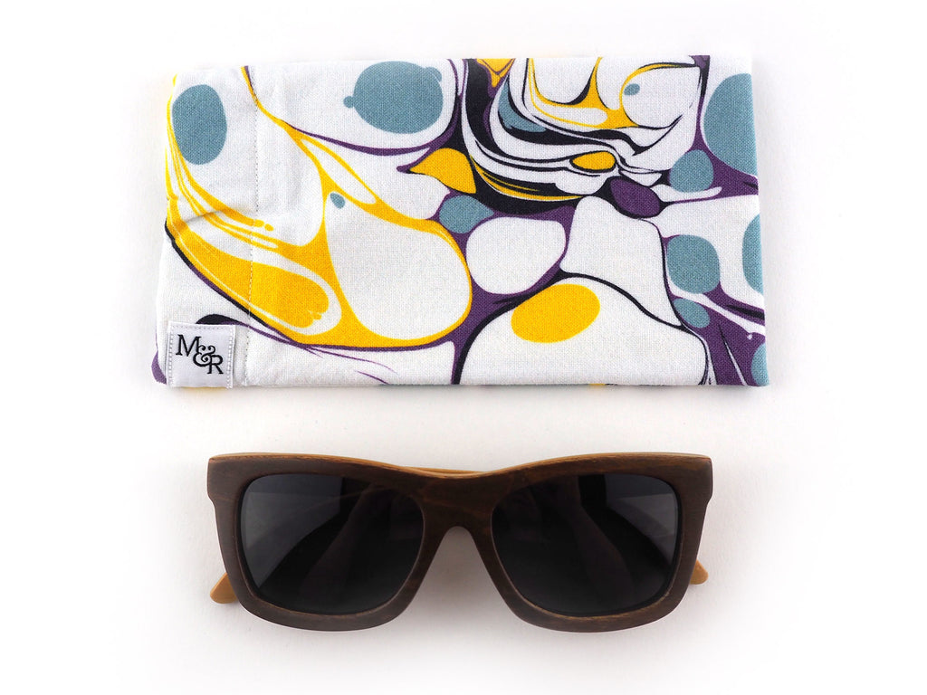 Handmade sunglasses case in white and yellow marble print