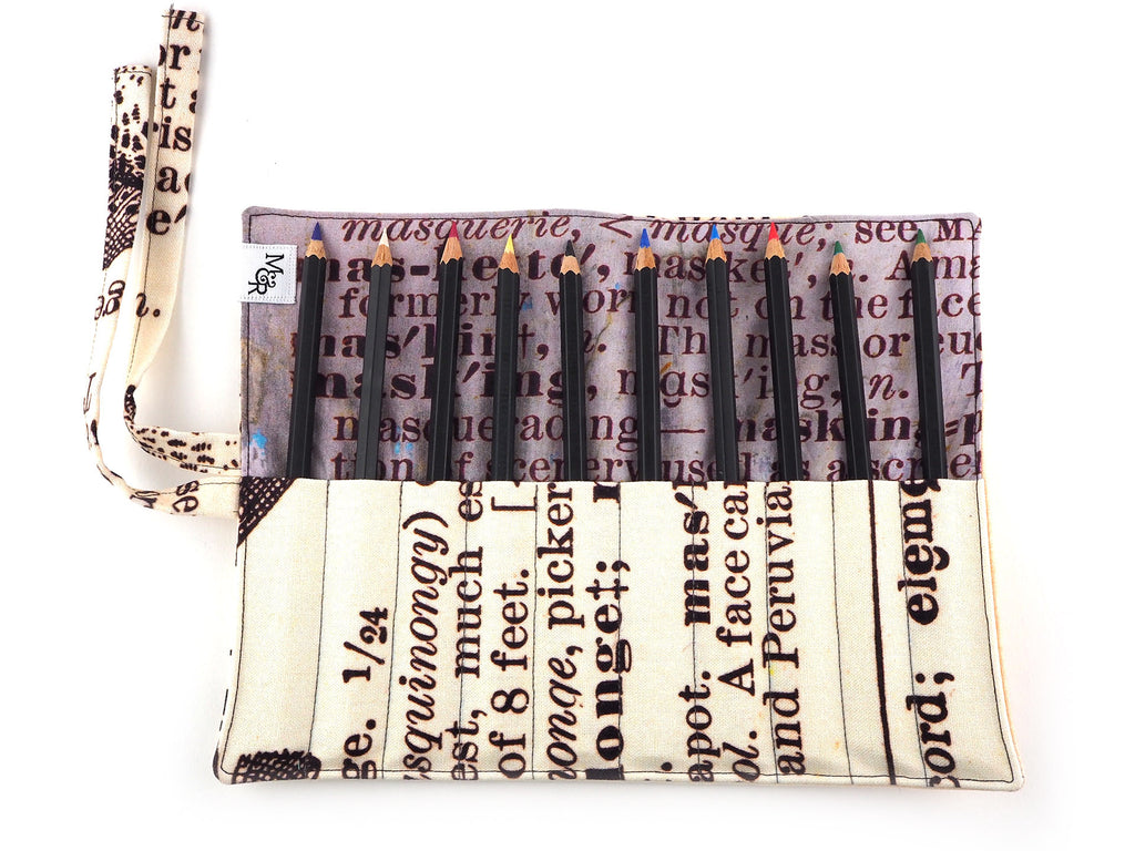 Text print handmade brush and pencil roll with pencils inside