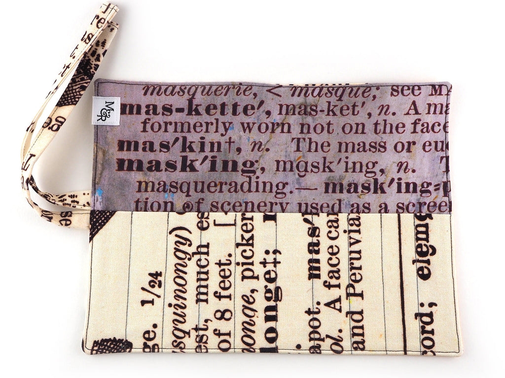 Text print handmade brush and pencil roll inner