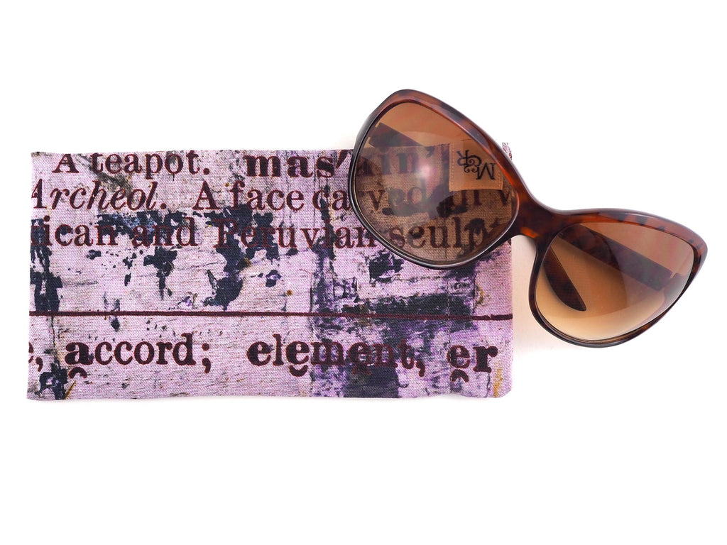Handmade glasses case in text print fabric