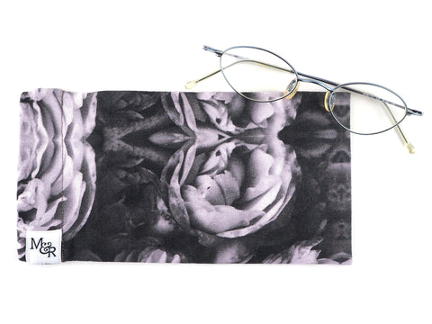 Handmade glasses case in monochrome rose print with glasses