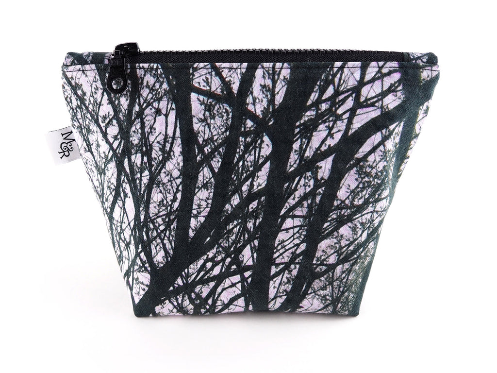 Handmade black and white tree print makeup bag