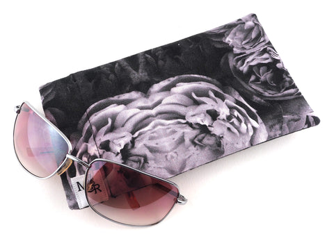 Handmade grey rose print glasses case front