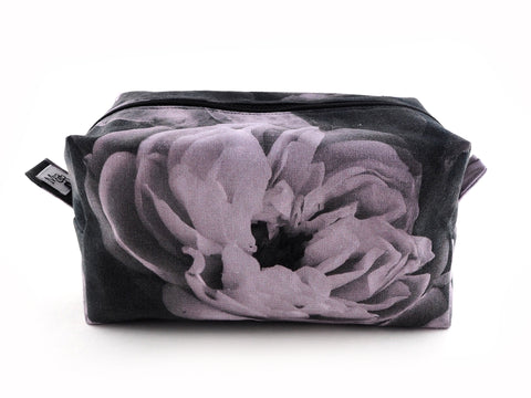 Handmade monochrome rose print wash bag