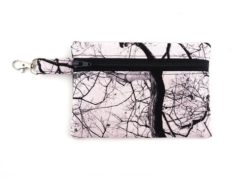 Handmade zipper pouch in tree print fabric