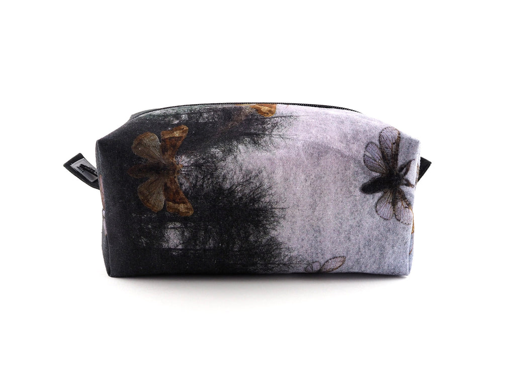Handmade trees and moths print wash bag