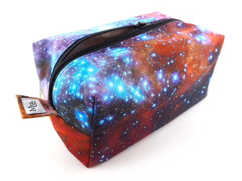 Handmade wash bag in galaxy print