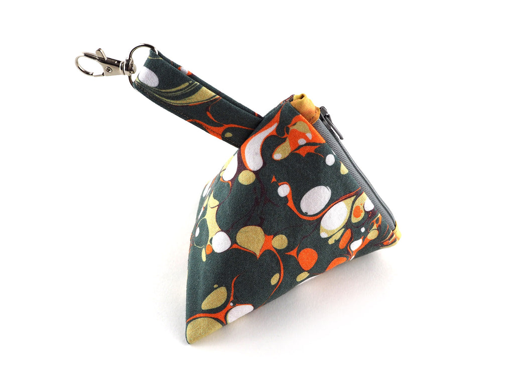 Marble print zipper pyramid pouch in olive and orange