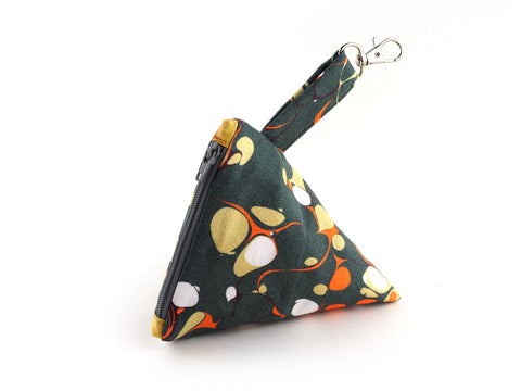 Olive marble print zipper pyramid pouch
