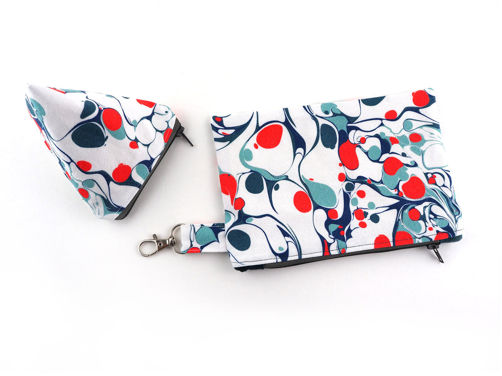 Set of two handmade zipper pouches in marble print fabric