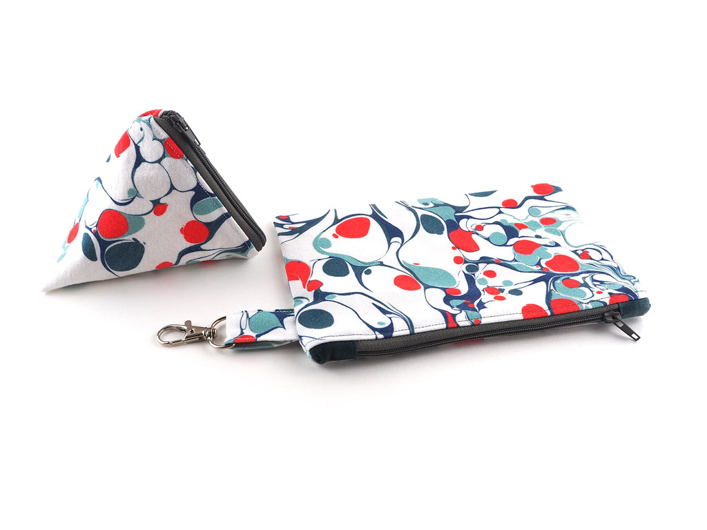 Handmade zipper pouches in marble print designer fabric