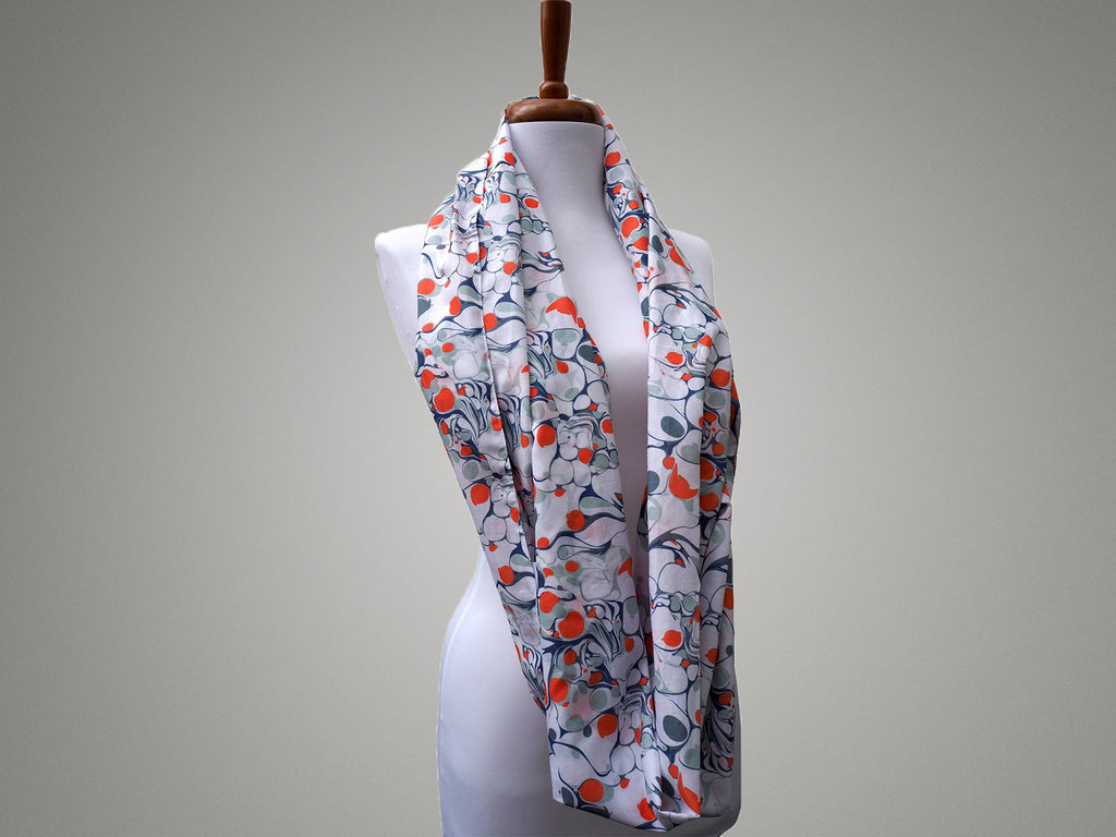 Handmade grey and orange marble print infinity scarf
