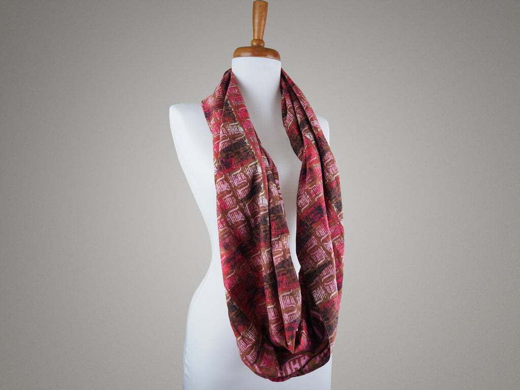 Handmade infinity scarf in oriental motif print on a mannequin