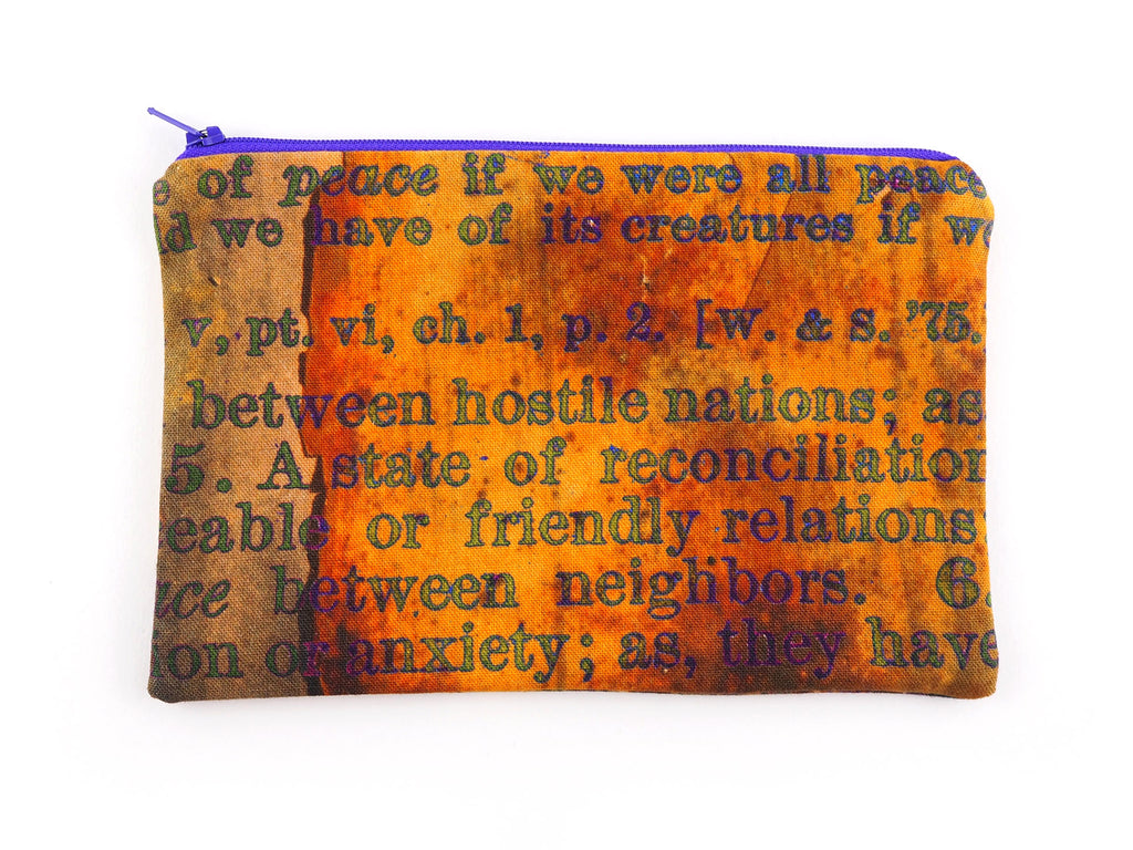 Handmade pencil case with purple zip