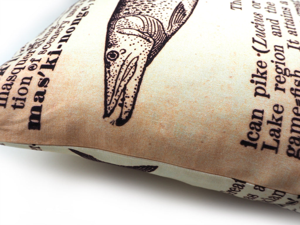 Handmade fish illustration print cushion
