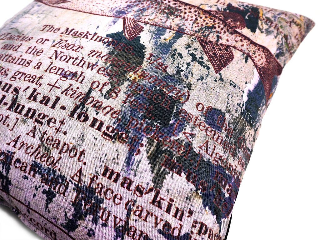 Max & Rosie handmade cushion in antique dictionary Pike fish print fabric close up