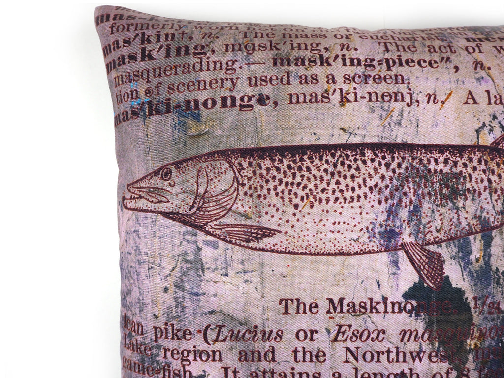 Max & Rosie handmade cushion in antique dictionary Pike fish print fabric detail