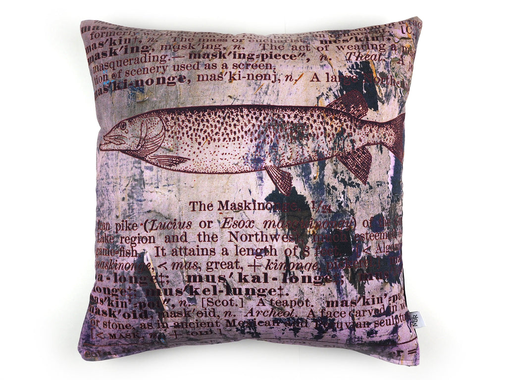 Max & Rosie handmade cushion in antique dictionary Pike fish print fabric