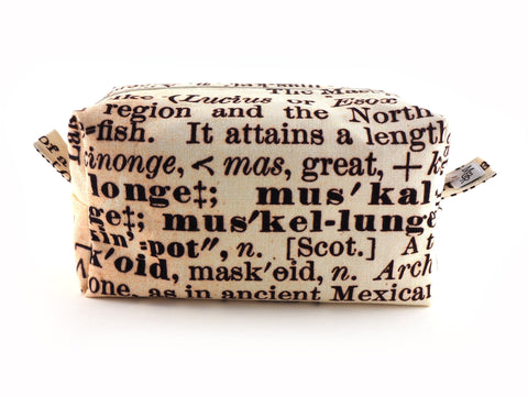 Handmade text print wash bag