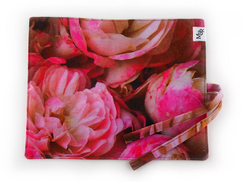 Handmade English rose print brush roll