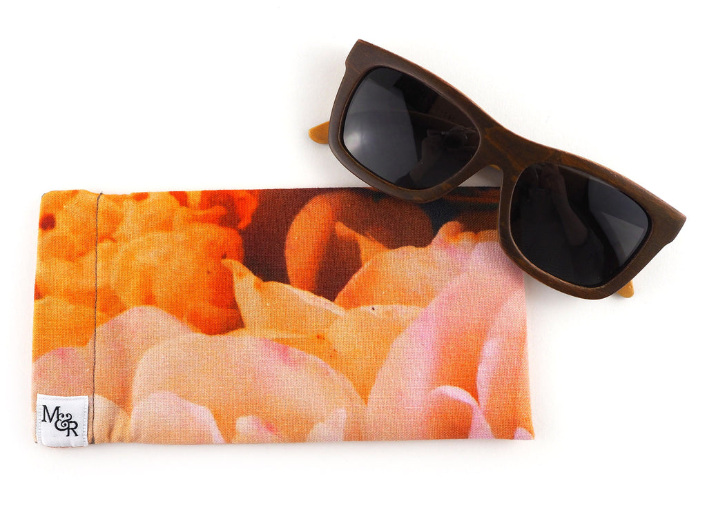 English rose print glasses case with sunglasses
