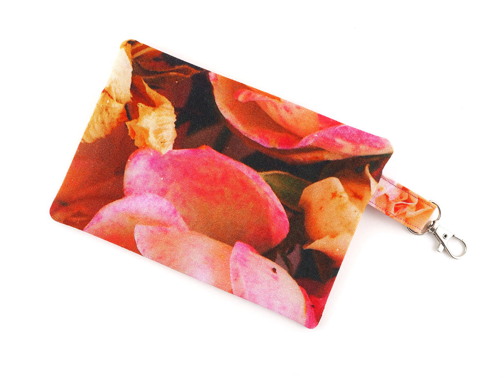 Rose print travel pouch with zipper and clasp