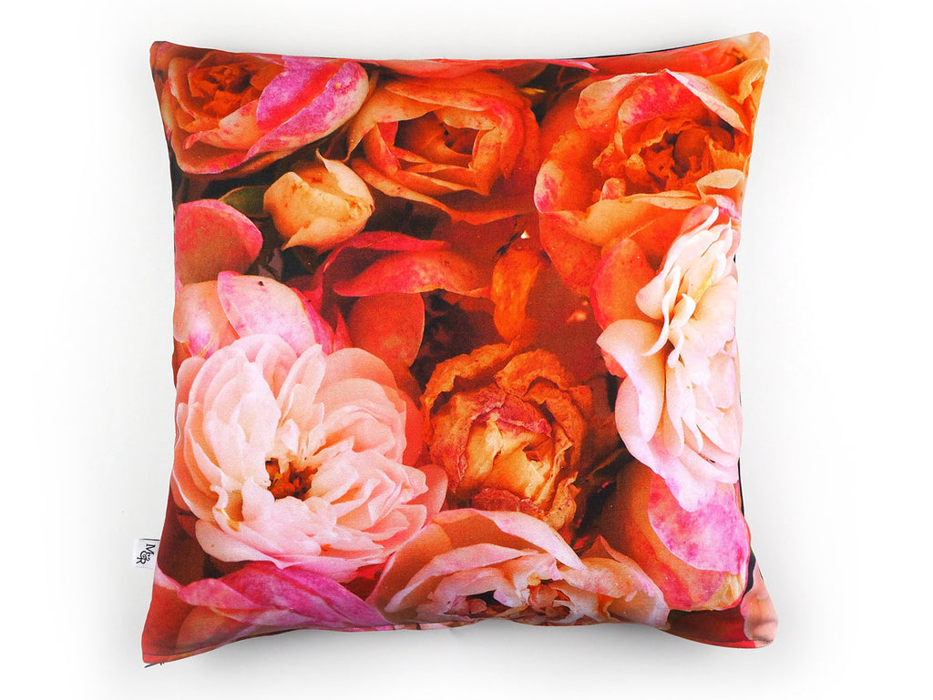Max & Rosie pink rose print handmade cushion front view