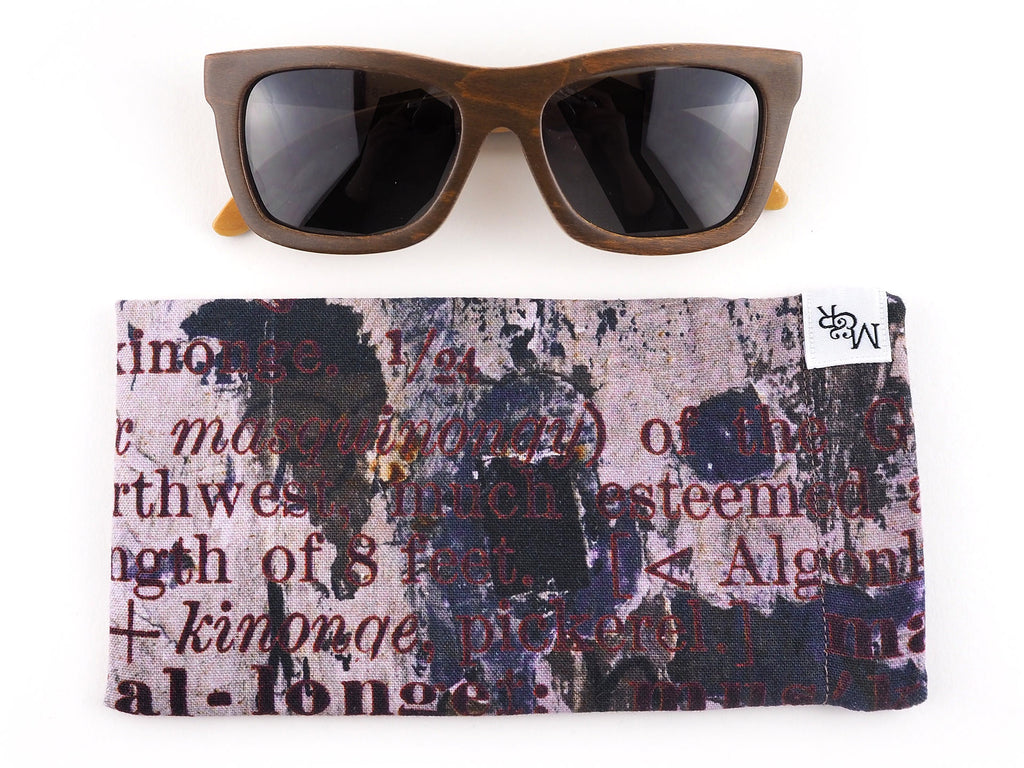 Handmade text print glasses case front view