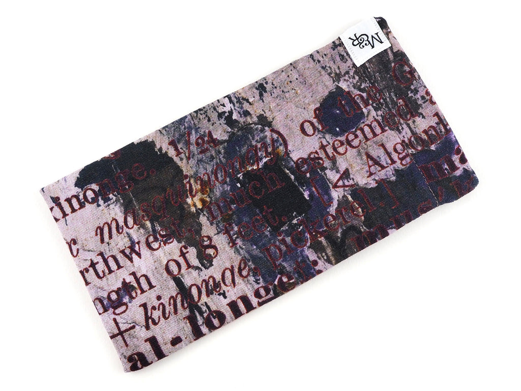 Handmade text print glasses case detail view