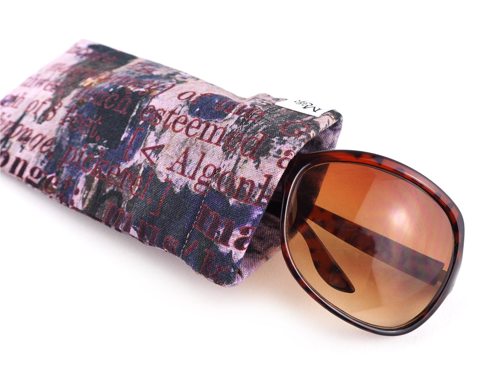 Handmade text print glasses case with sunglasses