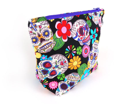 Sugar skull print makeup bag with purple zip
