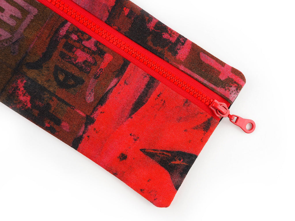 Crow print zip pouch