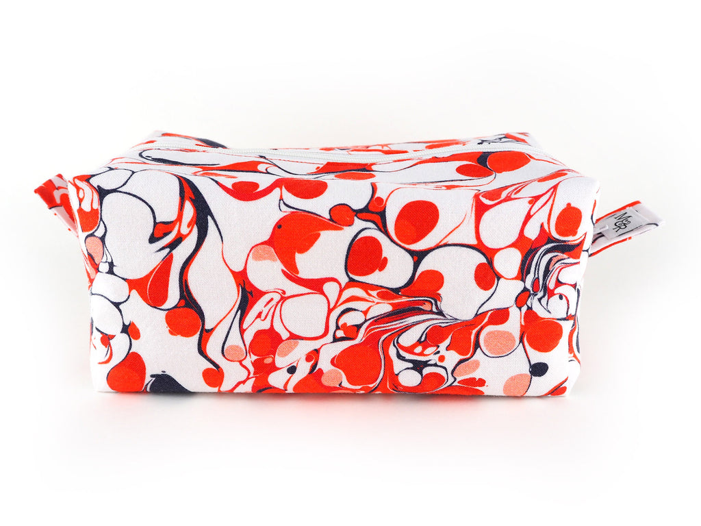 Handmade red marble print box shaped toiletry bag
